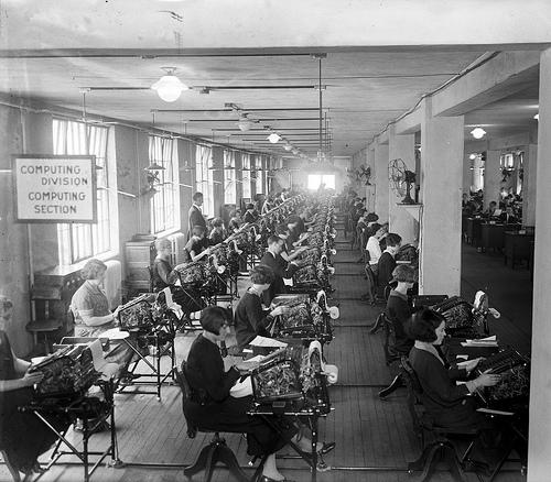 Computing Division des Bonus Bureau (USA) in den zwanziger Jahren, Quelle: Library of Congress, USA